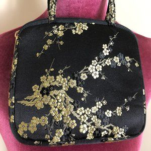 Black & Gold Cherry Blossom Satin Bag